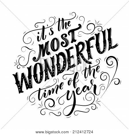 Most Wonderful Time Vector  Photo (Free Trial) Bigstock - christmas cards black and white