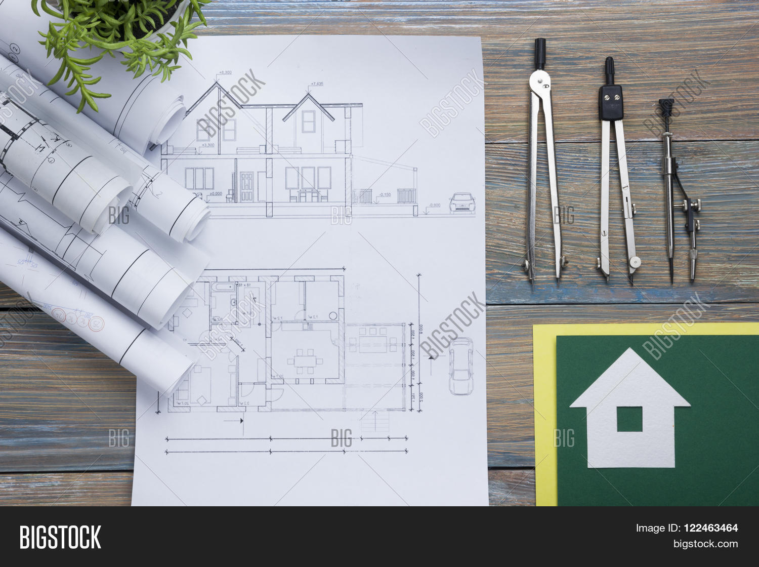 Vintage Architectural Blueprints Real Estate Concept Image Photo Free Trial Bigstock