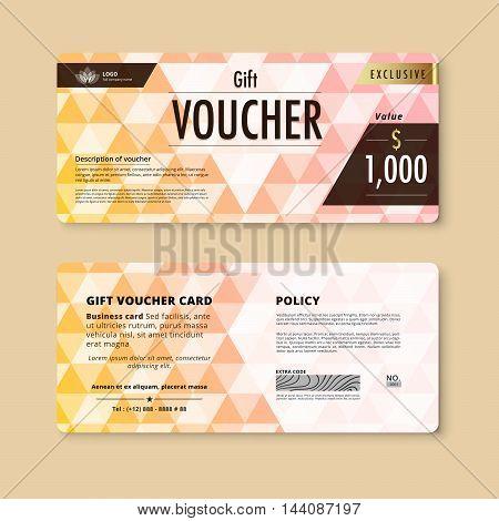 Stock Vector Abstract Gift Voucher Template Card Business Voucher