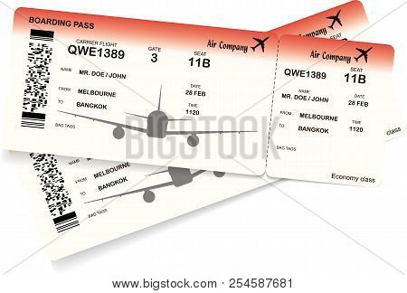 Red Airplane Ticket Vector  Photo (Free Trial) Bigstock