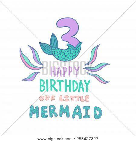 Number Three Mermaid Vector  Photo (Free Trial) Bigstock