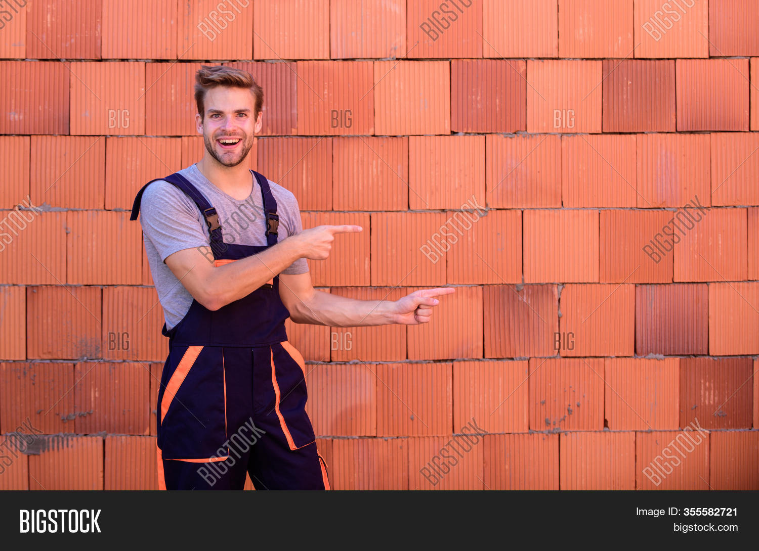 Worker Brick Wall Image Photo Free Trial Bigstock