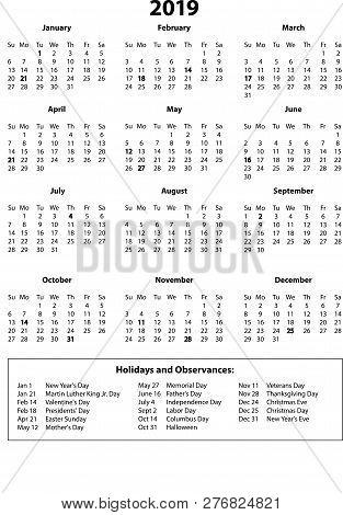 2019 Year Calendar On Vector  Photo (Free Trial) Bigstock