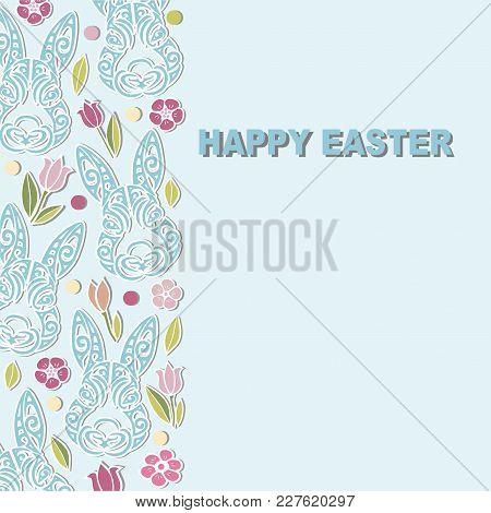 Template Bunny Head Flowers Happy Vector  Photo Bigstock