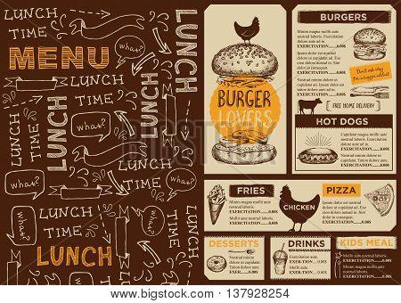 Menu Placemat Food Vector  Photo (Free Trial) Bigstock