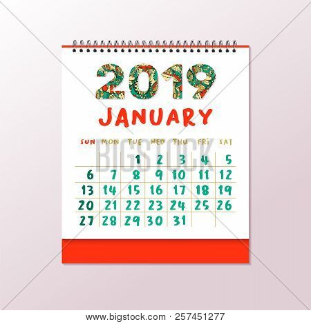 2019 Desk Calendar Vector  Photo (Free Trial) Bigstock