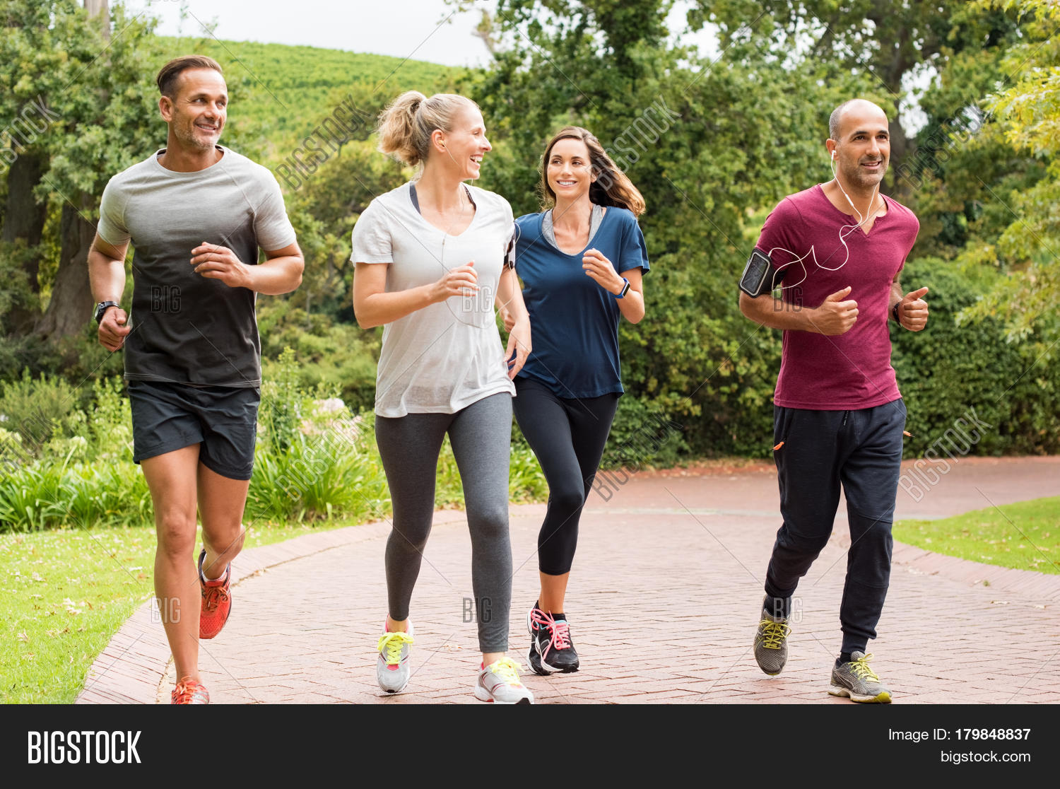 Jogging Run Time Healthy Group People Image Photo Free Trial Bigstock