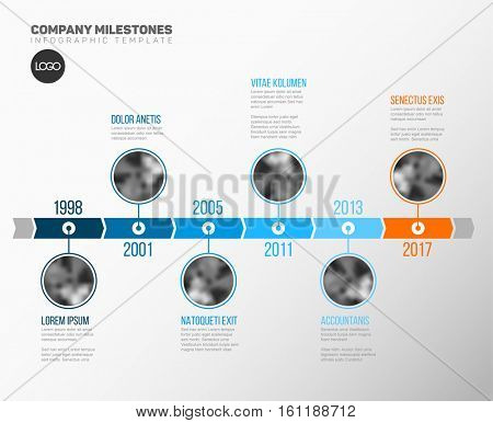 Vector Infographic Company Milestones Timeline Template with circle