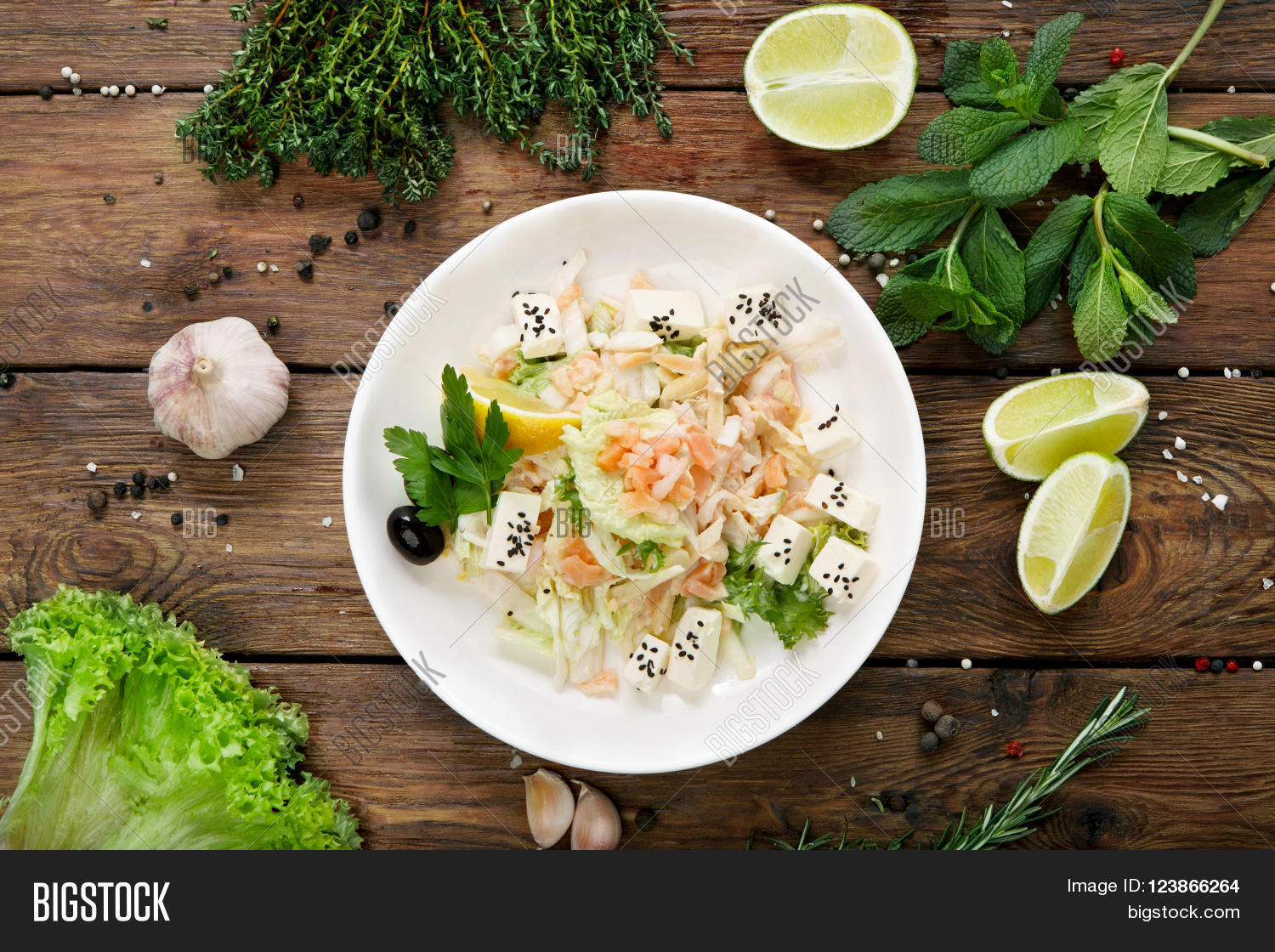 Plate With Food Top View Restaurant Healthy Food Fish Salad Image And Photo Bigstock