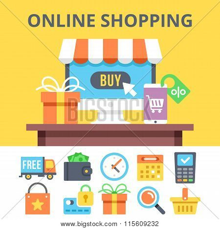 Online shopping flat illustration and ecommerce flat icons set - poster on line