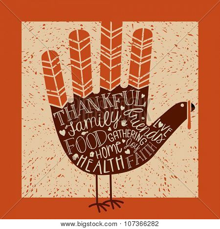 thanksgiving card design with theme message and cute hand print