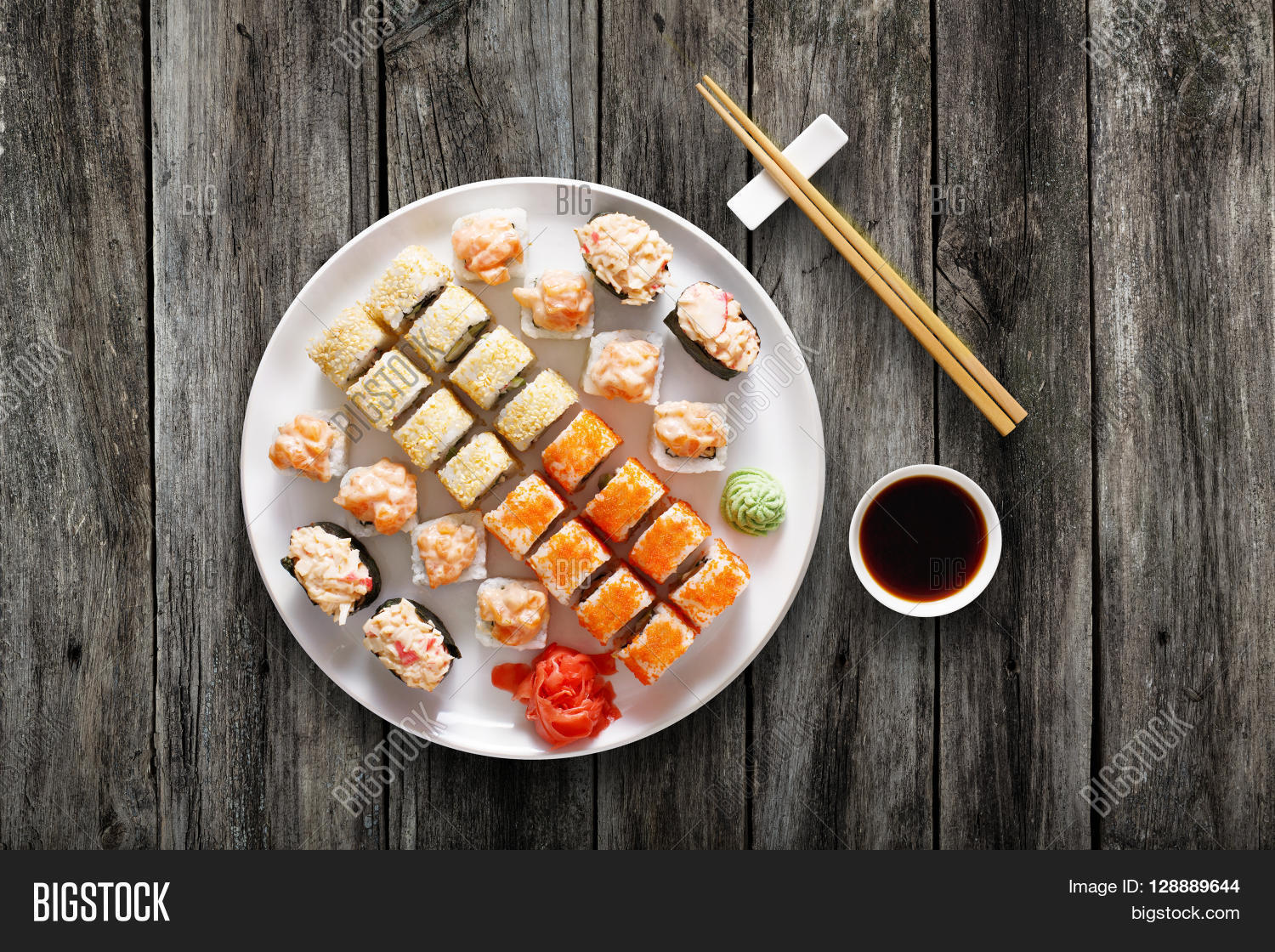 Plate With Food Top View Japanese Food Restaurant Sushi Image And Photo Bigstock