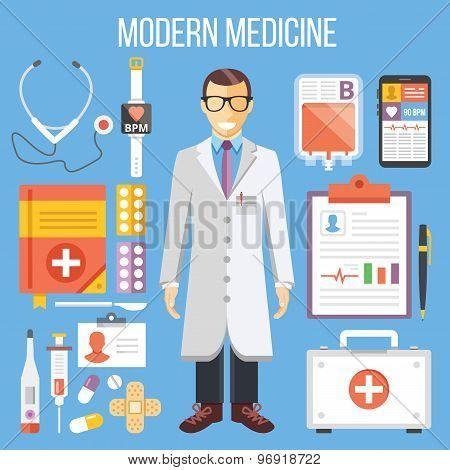 Modern medicine, doctor and medical equipment flat illustration