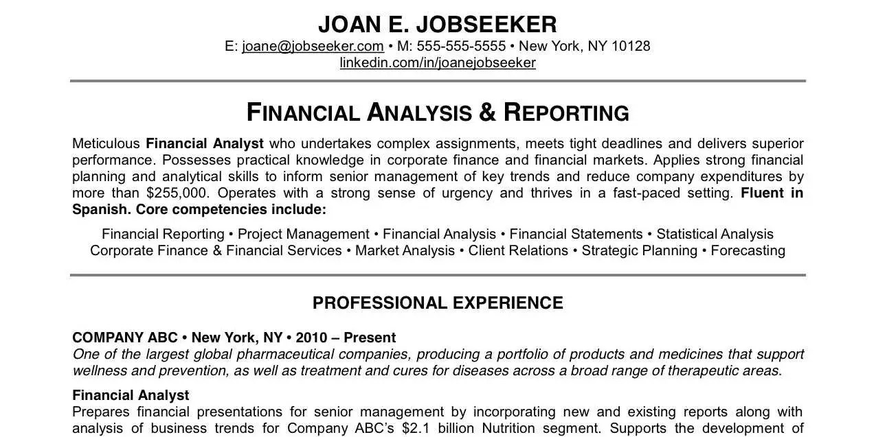 financial analyst sample resume