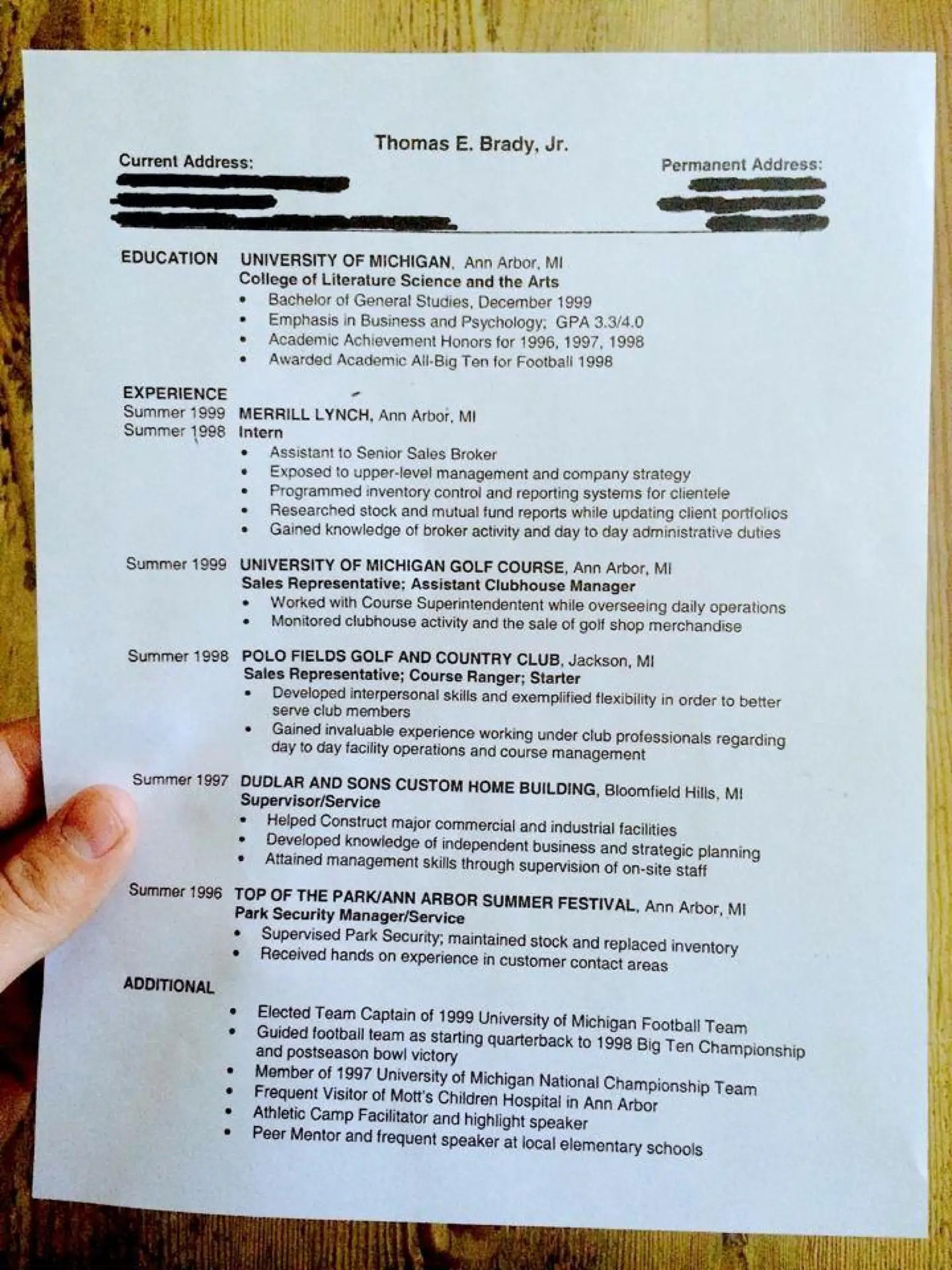 College Student Resume Example The Balance Heres Tom Bradys College R233;sum233; Business Insider