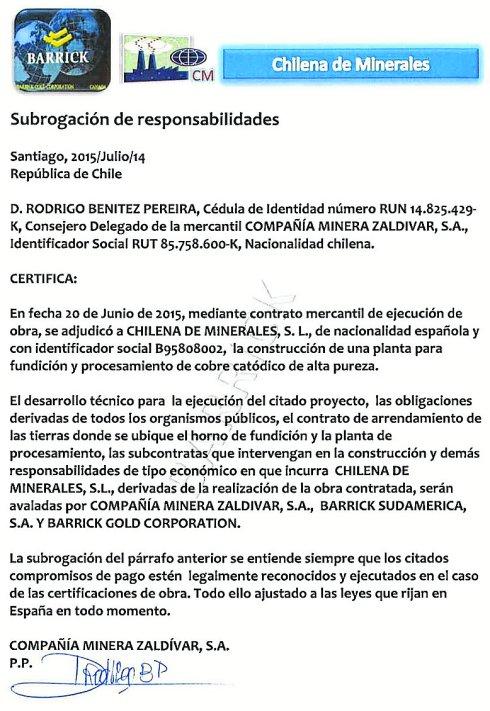 La carta de presentación del supuesto inversor chileno en Corvera