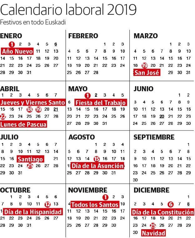 Calendario laboral 2019 festivos y puentes en Euskadi El Correo