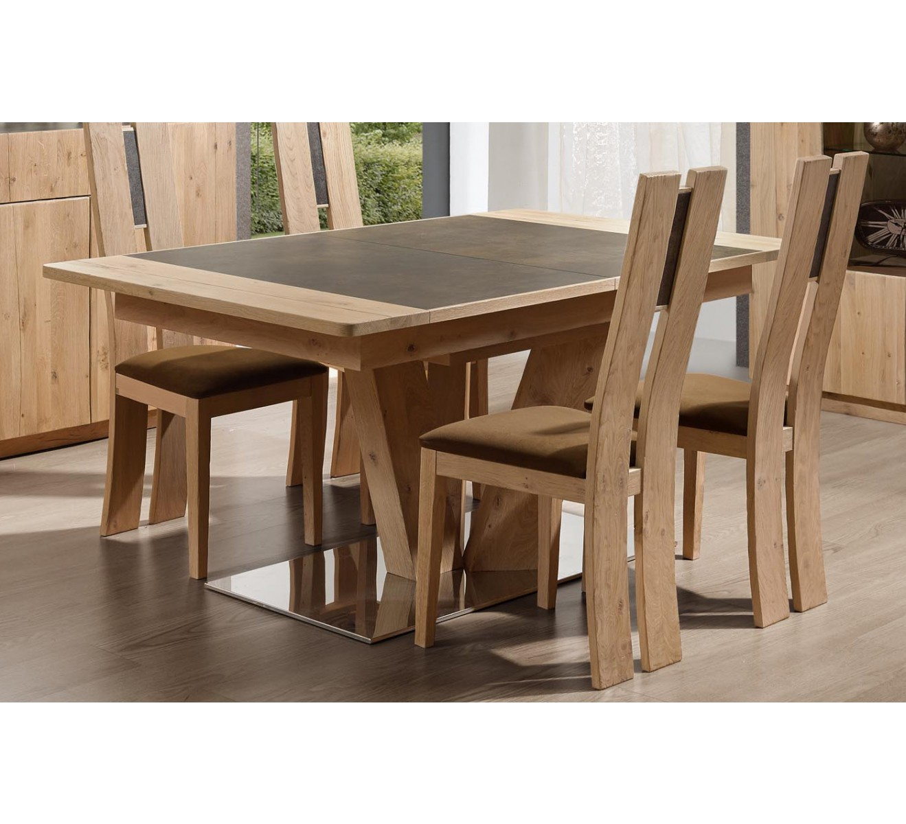 Table Bois Carré Table Carree Pied Central