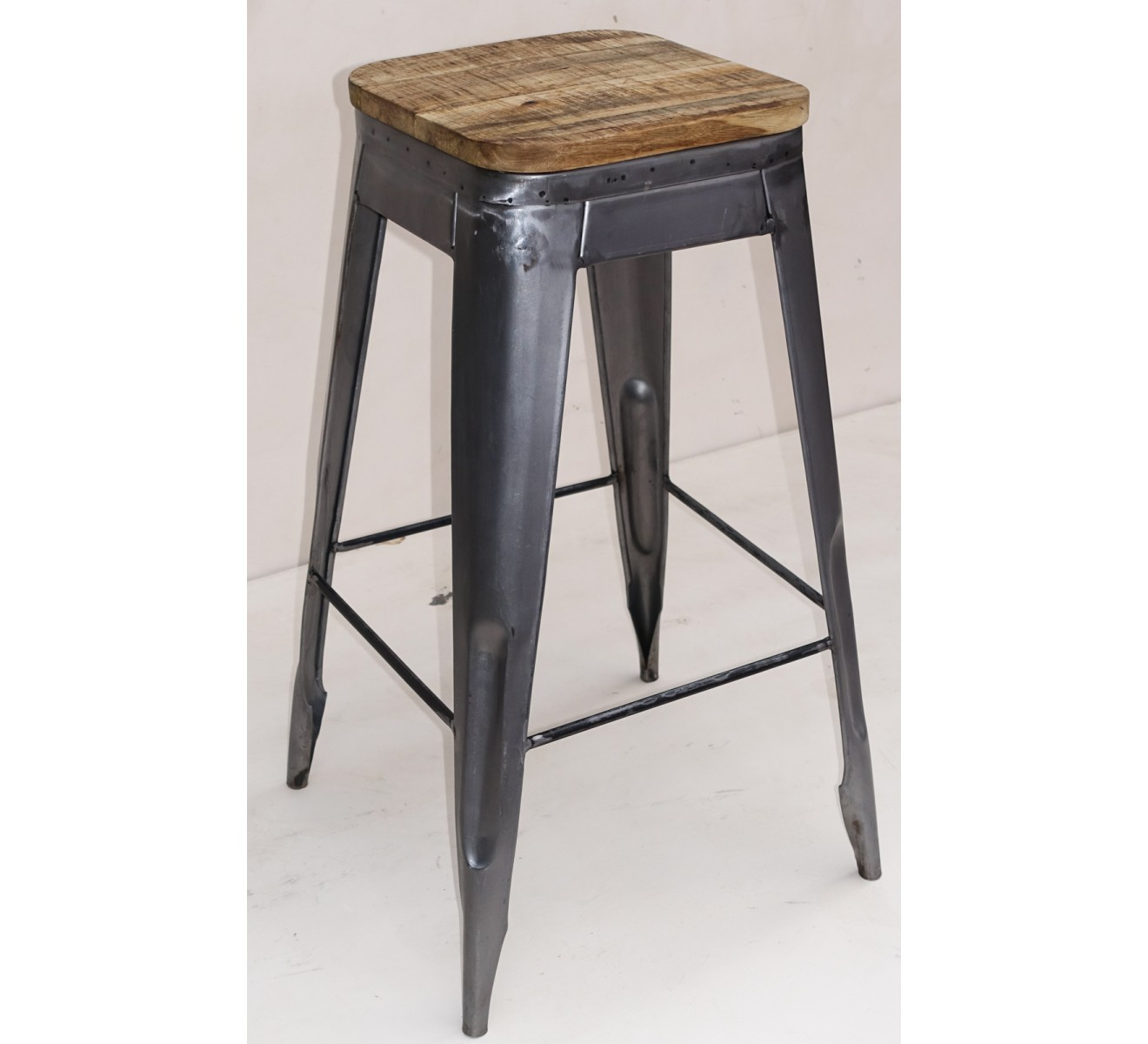 Tabouret De Bar Pin Massif Fer 4262
