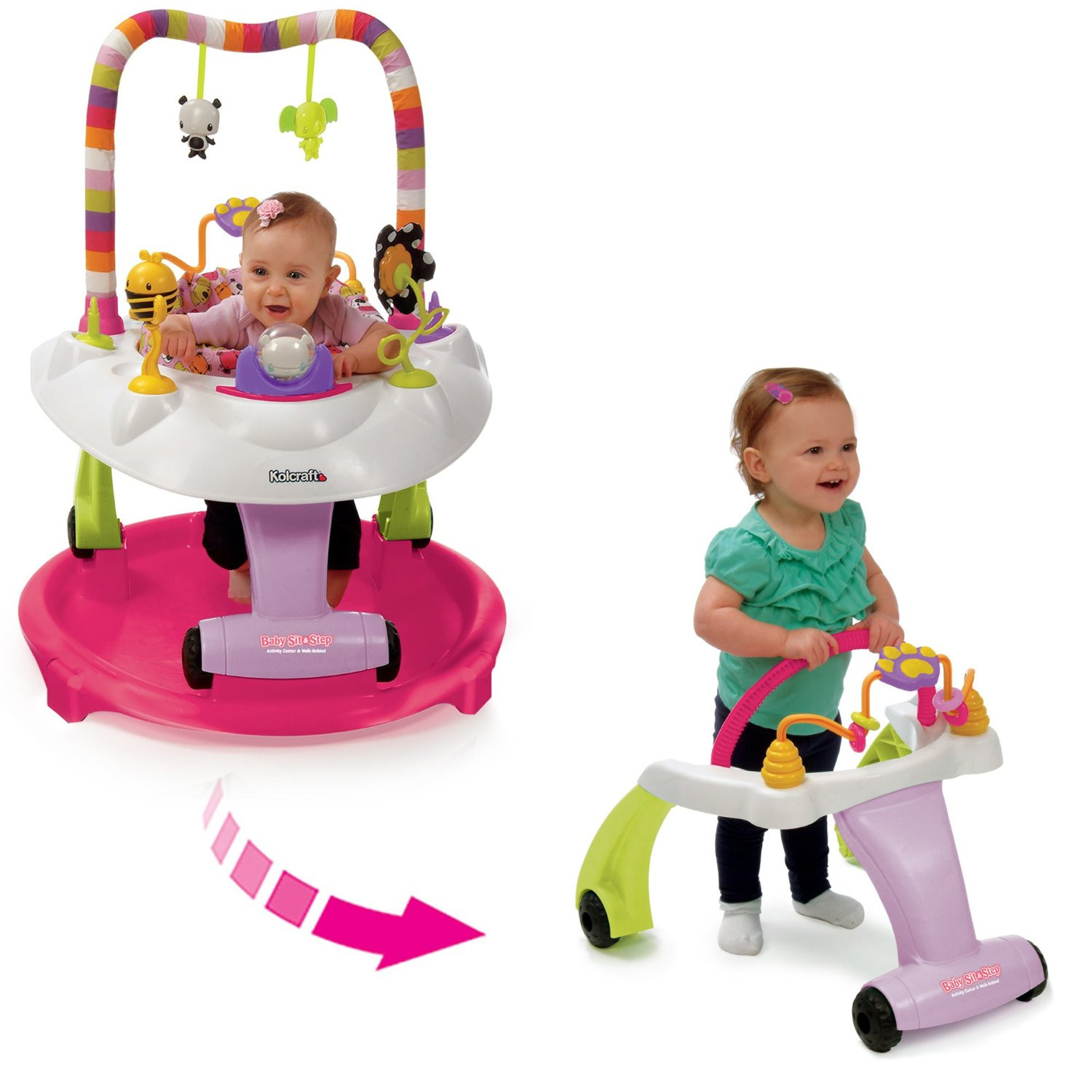 Baby Activity Center Kolcraft Baby Sit Step 2 In 1 Activity Center Pink Bear Hugs