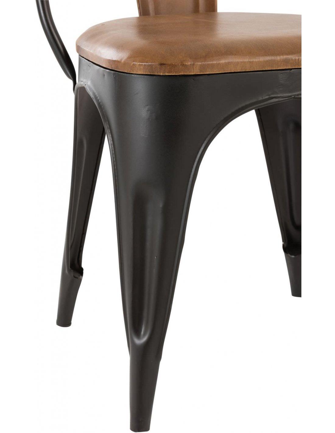 Lot De 2 Chaises Bistrot Cuir Metal Camel Noir A 437 90 Chez Reco