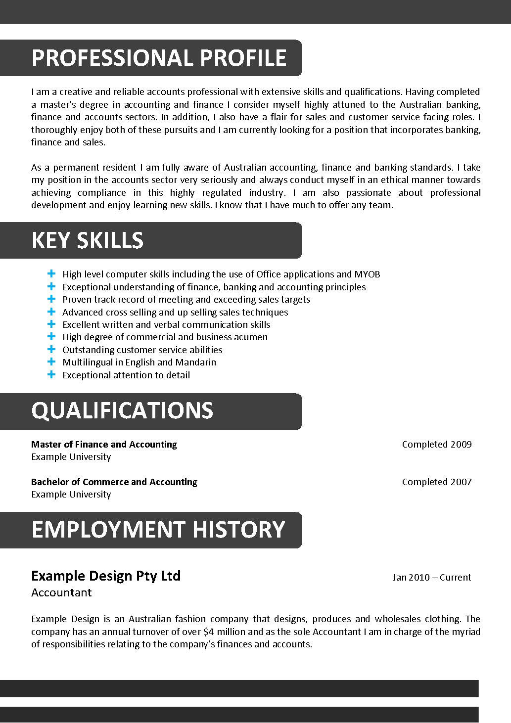 Myob qualified resume