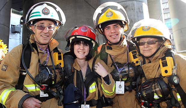 Family Of Four Firefighters Climb Sky Tower For Funds