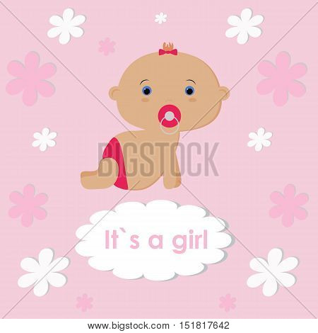 Template Vector  Photo (Free Trial) Bigstock - Birth Of Baby Girl