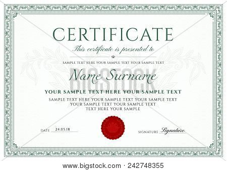 Certificate Template Vector  Photo (Free Trial) Bigstock