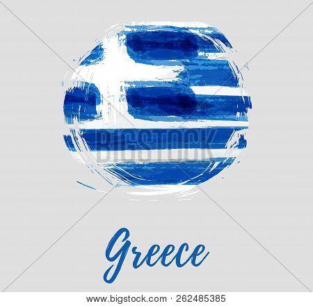 Greece Round Flag Vector  Photo (Free Trial) Bigstock