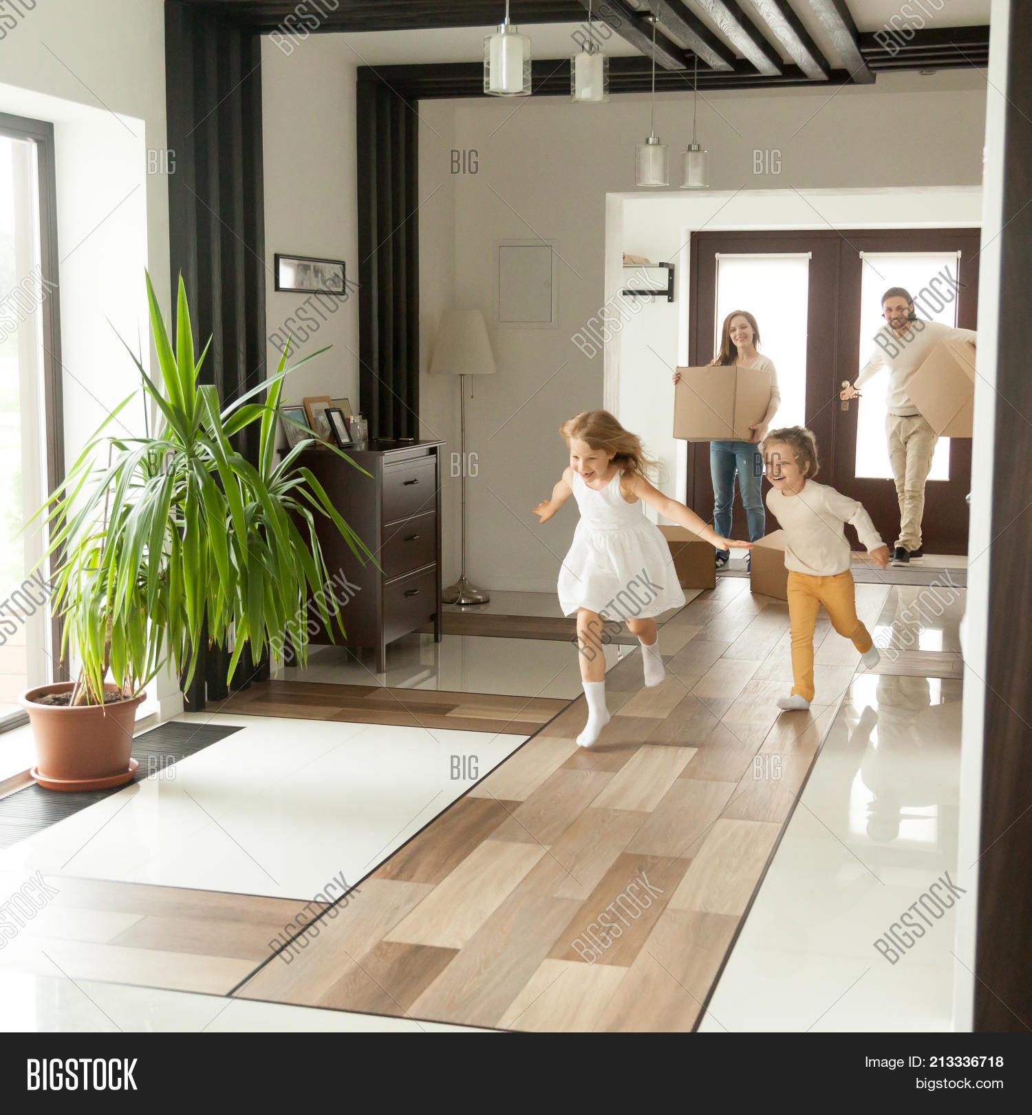 Home Interior Kids Playful Happy Kids Image Photo Free Trial Bigstock