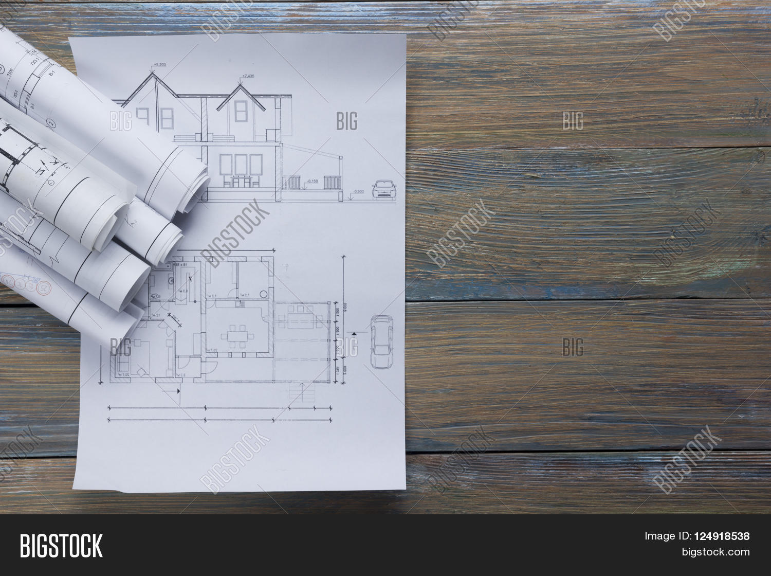 Vintage Architectural Blueprints Rchitect Worplace Top Image Photo Free Trial Bigstock