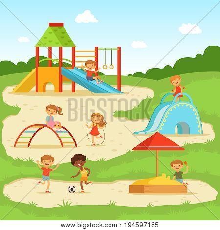 Funny Children Summer Vector  Photo (Free Trial) Bigstock - cartoon children play