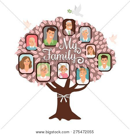 Family Tree Cartoon Vector  Photo (Free Trial) Bigstock