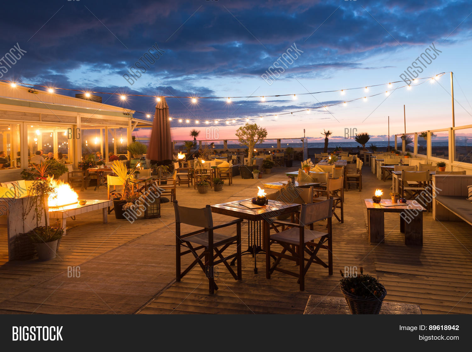 Scheveningen Beach Restaurants Sea Sunset People Image Photo Free Trial Bigstock