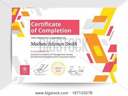 Certificate Completion Template Vector  Photo Bigstock - certification of completion template