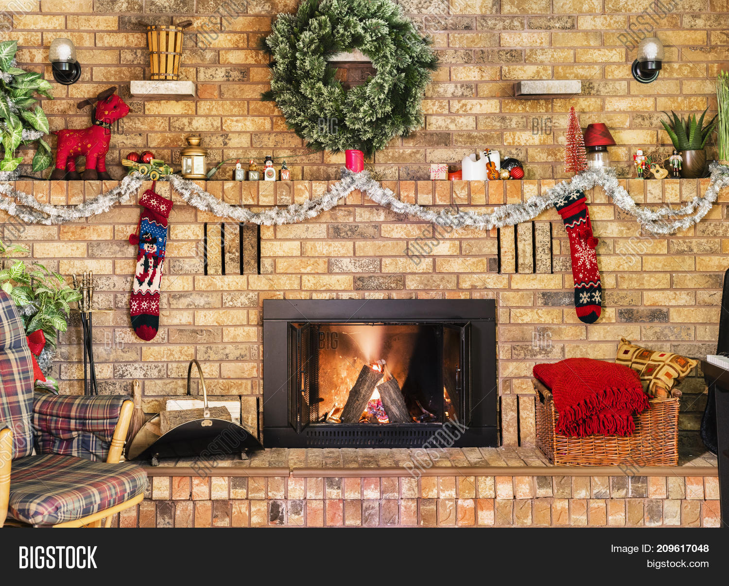 How To Decorate A Brick Fireplace Cozy Fire Brick Image Photo Free Trial Bigstock