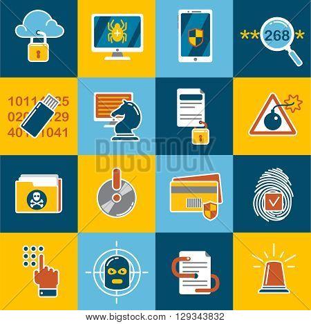 Data Protection Flat Icon Set Vector  Photo Bigstock - vector scams