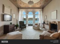 comfortable living room of an old luxury mansion Stock ...