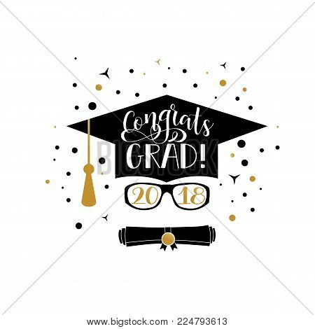 Template of the graduation class in 2018 Graduation design with hut