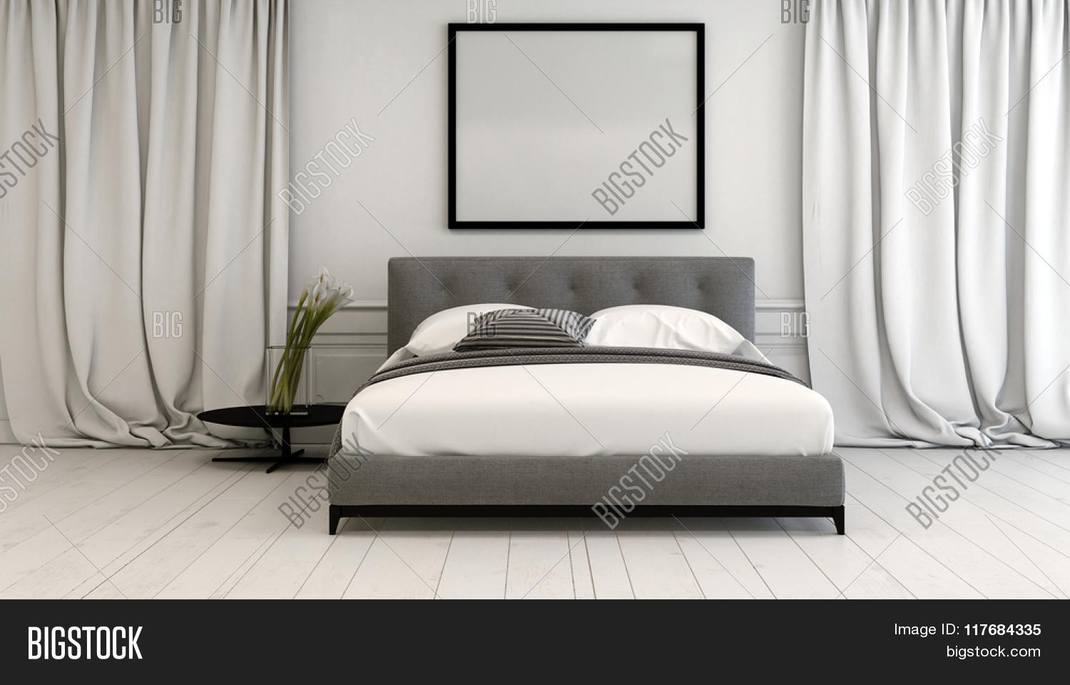 Length Of A Double Bed Modern Bedroom Interior In Neutral Tones With A Double