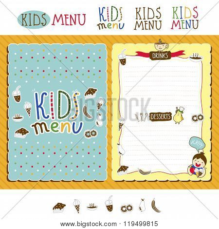 cute colorful meal kids menu template with cute little monsters