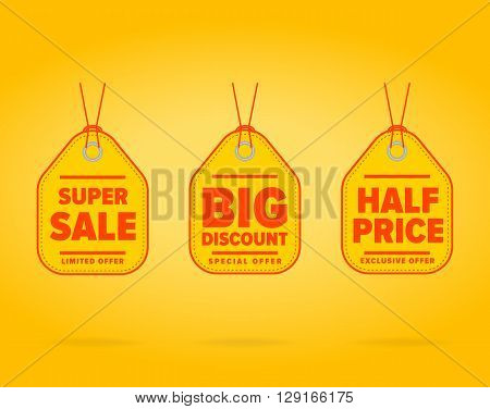 Sale tag with special ad offer Half price sale tag Best price - sale tag template