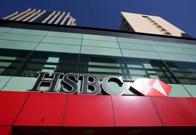 Thomson Reuters HSBC Logo Is Seen Above A Branch Of The Bank In The