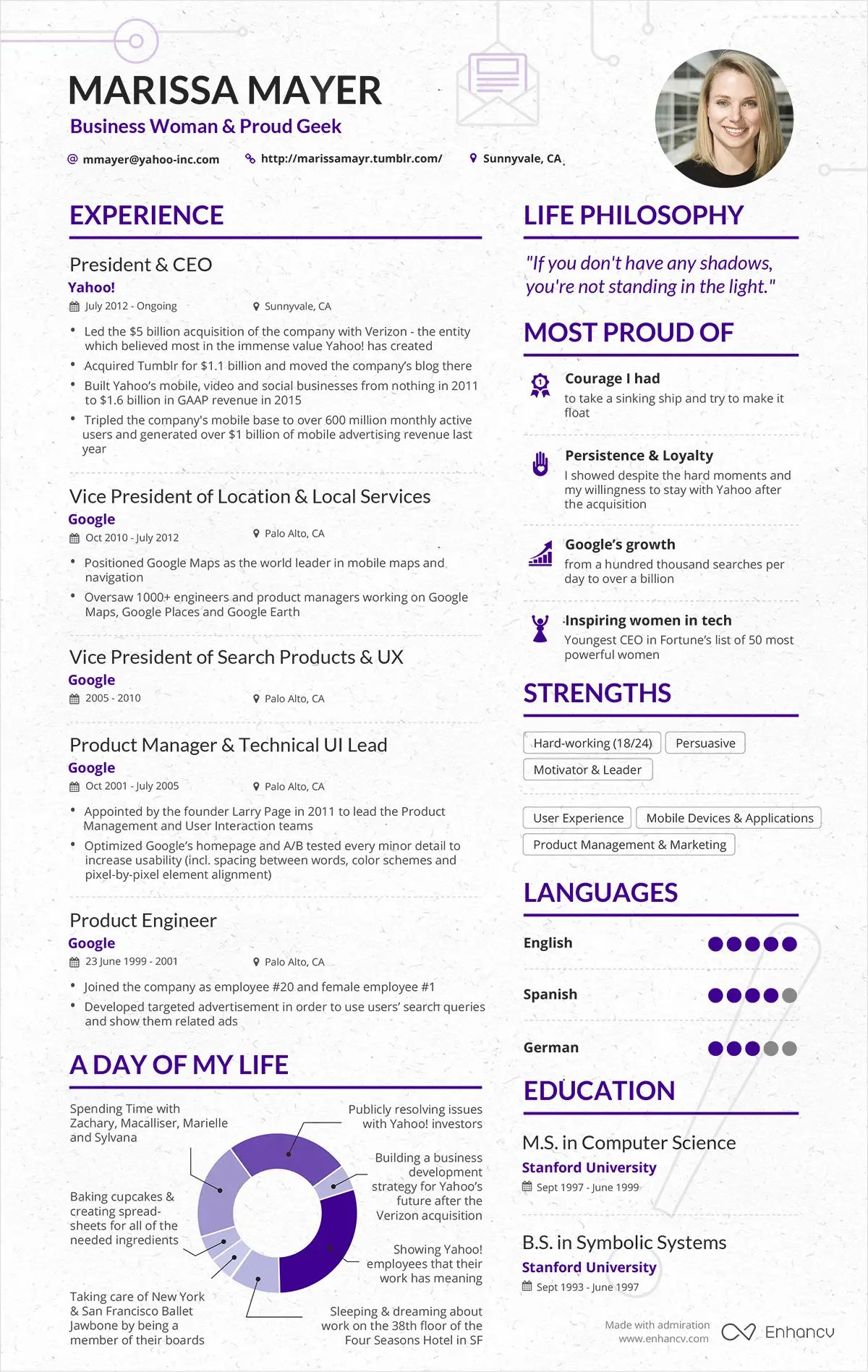 marissa mayer template cv