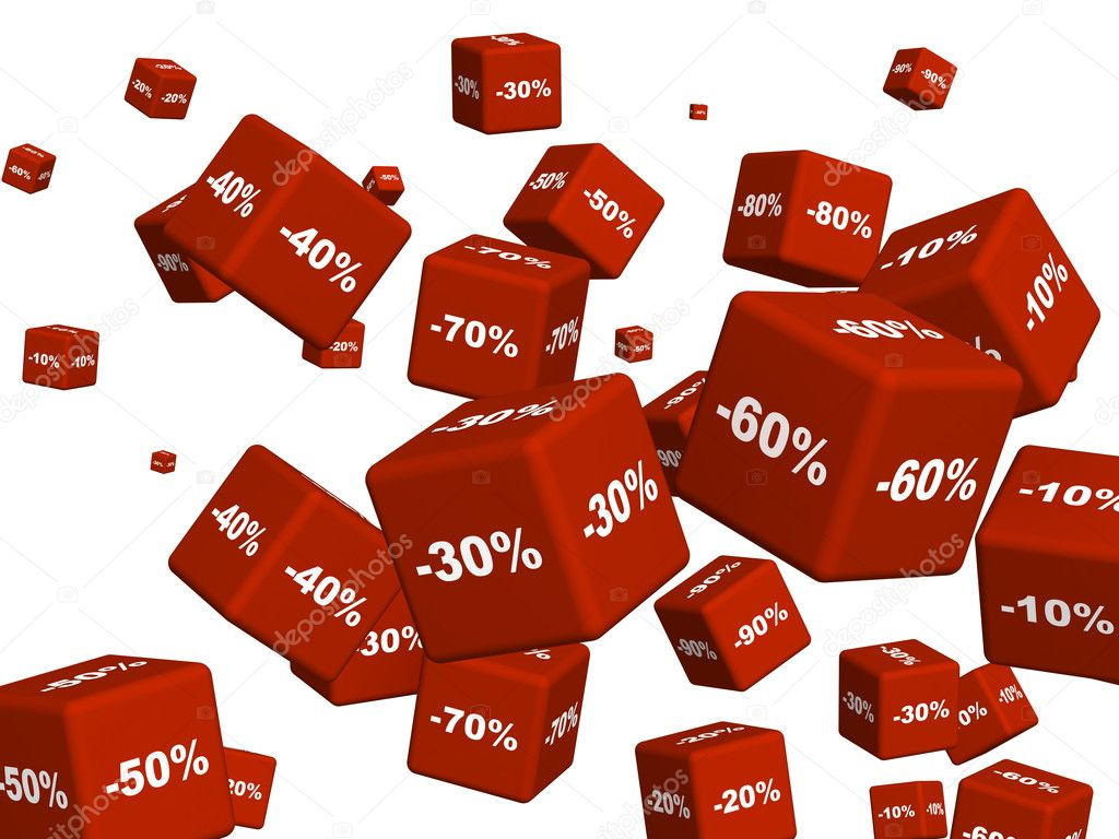 Red Boxes With The Goods At A Discount Stock Image