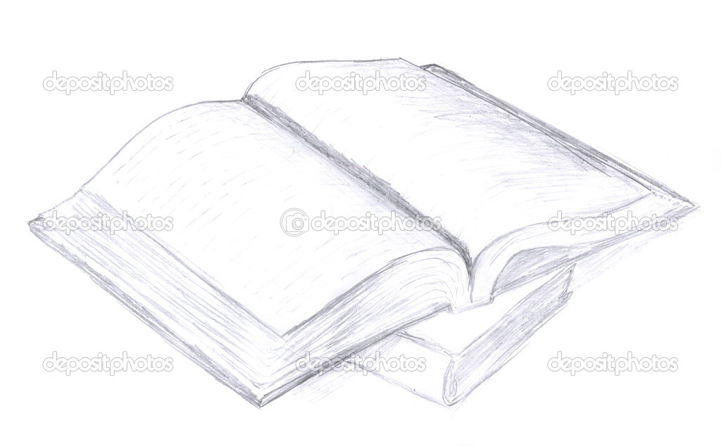 Opened book sketch \u2014 Stock Photo © nadyaus #1656338 - opened book