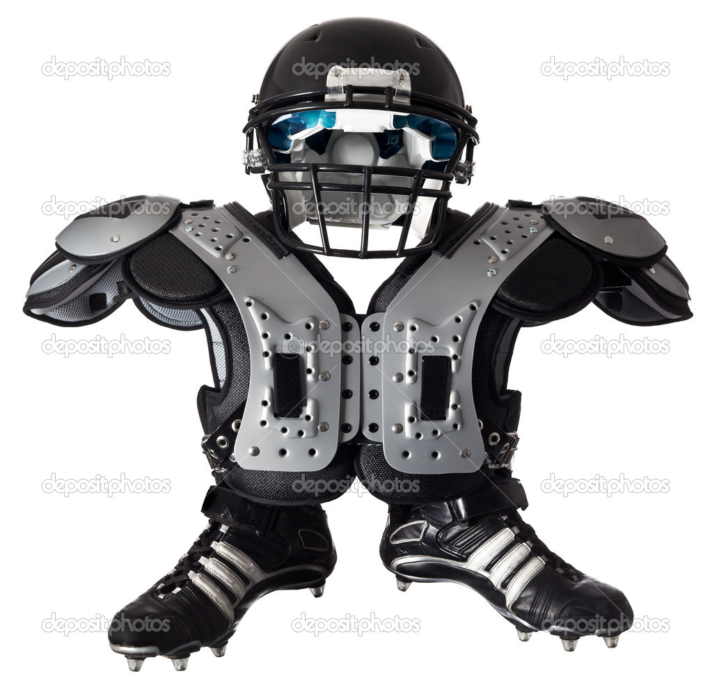 helmet shoulder pad and boots royalty free stock photo