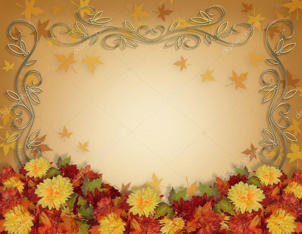 Fall Harvest Wallpaper Backgrounds Thanksgiving Fall Leaves Flowers Border Stock Photo