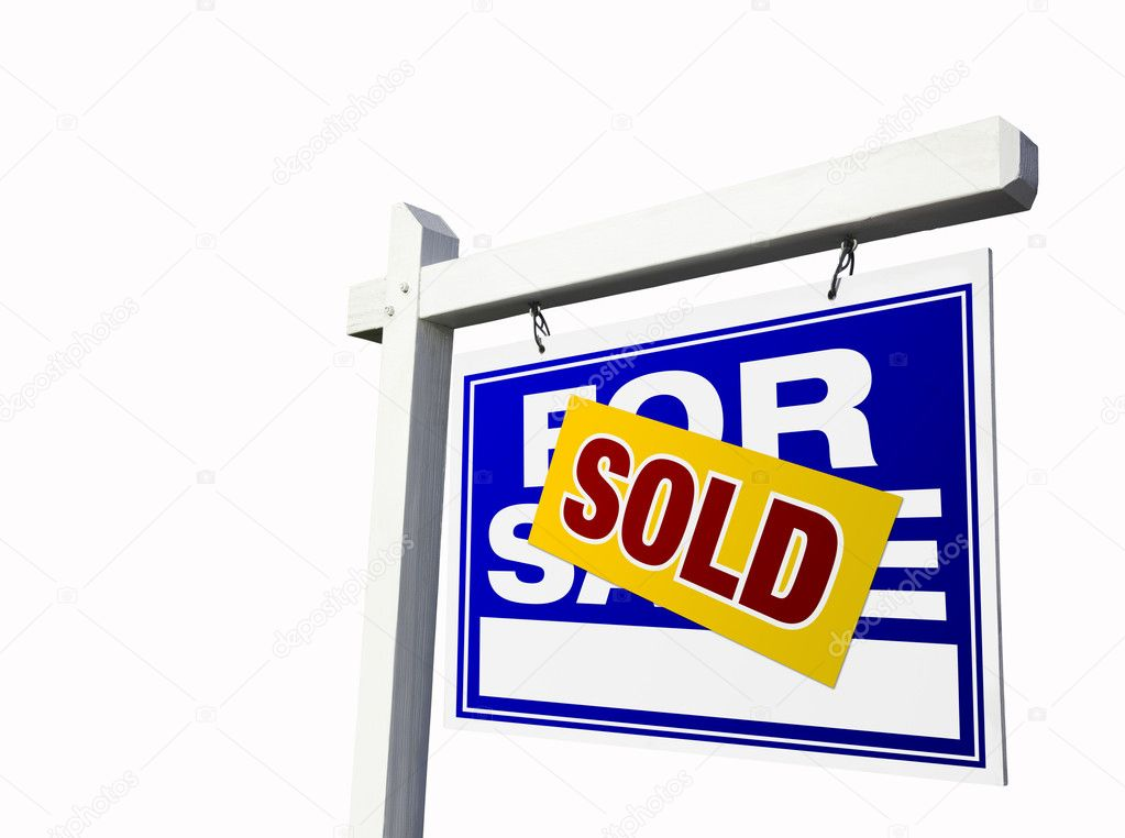 Blue Sold For Sale Sign on White \u2014 Stock Photo © Feverpitch #2360964